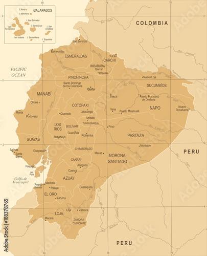 Canvas Print Ecuador Map - Vintage Detailed Vector Illustration