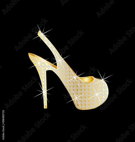 Women high heel golden shoes vector Fototapeta