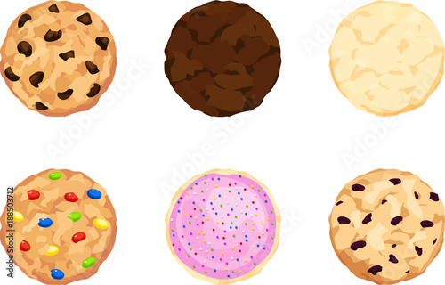 Canvas Print Six Chocolate Chip, Fudge, Sugar, Candy, Iced, and Oatmeal Cookies