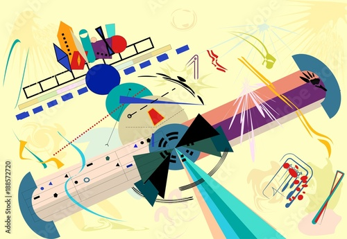 composition of abstract colorful shapes ,stylized plane,on light beige background. expressionism art style.