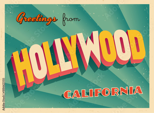 Fototapeta Vintage Touristic Greeting Card From Hollywood, California - Vector EPS10