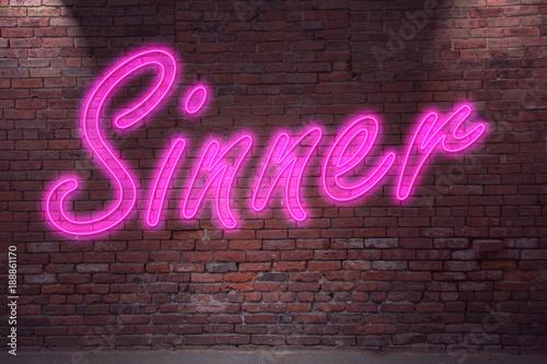 Canvas Print Sinner Neon
