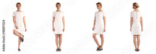 Fototapeta premium Blondynka model w białej tuniki na białym tle