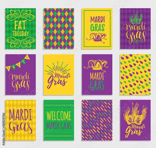 Obraz na płótnie Mardi Gras vector hand lettering greeting cards set