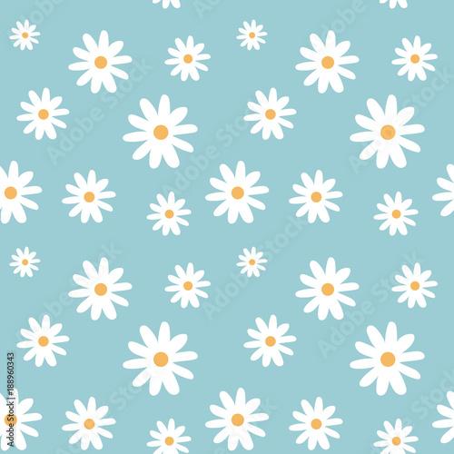 chamomile on a light blue color pastel background pattern seamless vector Fototapeta