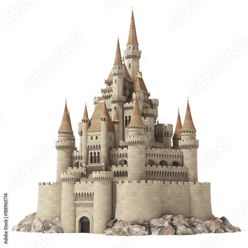 Vászonkép Old fairytale castle on the hill isolated on white.