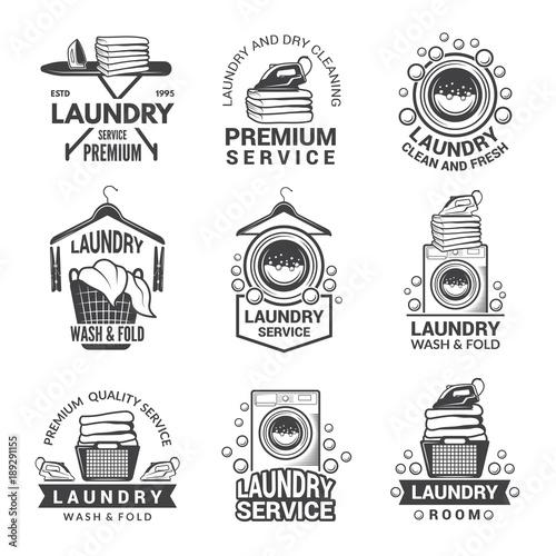Obraz na plátně Labels or logos for laundry service. Vector monochrome pictures