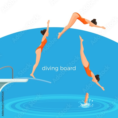 Stampa su Tela Diving board and female swimmer in swimsuit that jumps