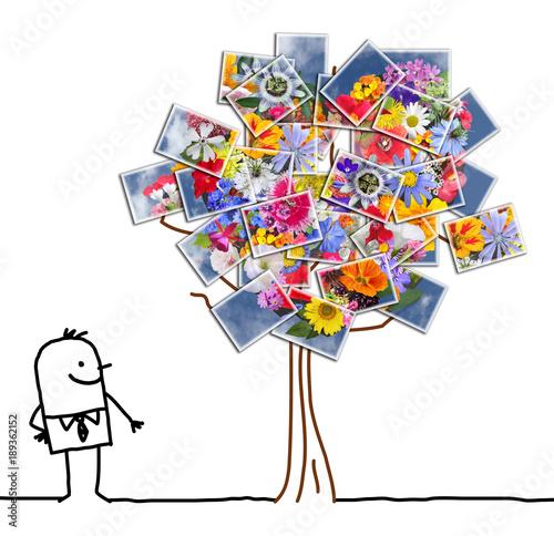 Kreskówka mężczyzna oglądania kwitnące drzewo fotograficzne