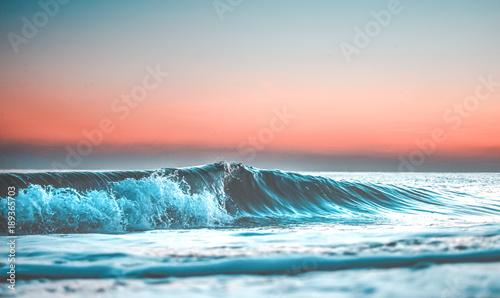 Obraz na plátně wave at sunset