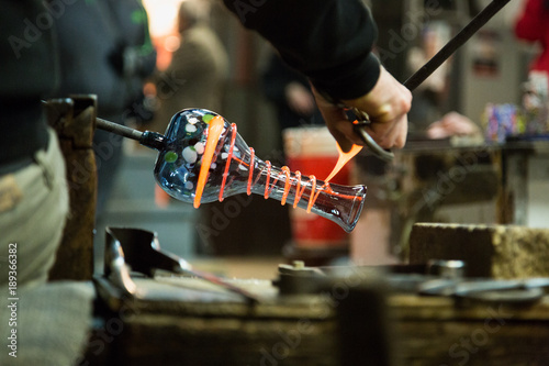Canvas Print Artisan making glass vases and sculptures in Murano