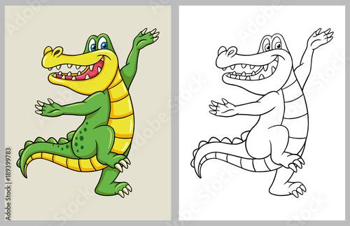 Fototapeta premium Tańcząca postać z kreskówki krokodyla, dobre wykorzystanie symbolu, maskotki, kolorowanki, znaku, ikony internetowej, logo, gry lub dowolnego projektu.