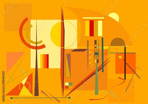 Abstract  orange  background ,fancy  geometric  shapes , expressionism art style