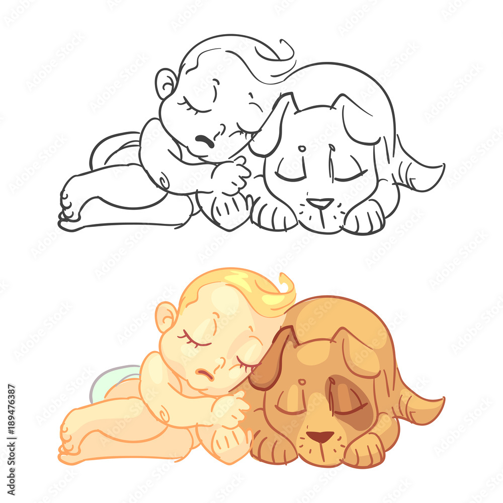 Cute baby and dog coloring page with colorful sample <span>plik: #189476387   autor: MicroOne</span>