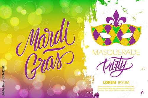 Photo Mardi Gras masquerade party banner with calligraphic lettering text design, bokeh background and carnival mask