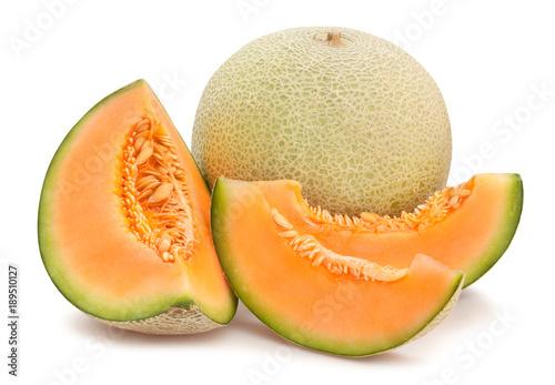 Photo sliced cantaloupe melon path isolated