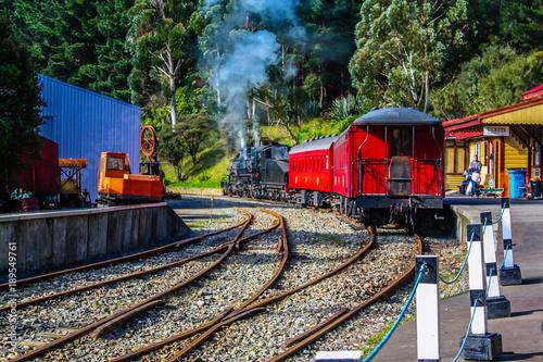 Canvas Print Train leaving the station, Wellington City, Wellington, New Zealand