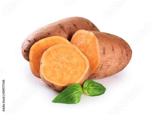 Slices sweet potato isolated on a white background.