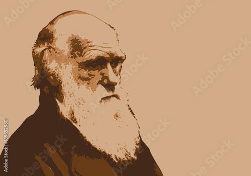 Canvastavla Darwin -  portrait - évolution -paléontologie - scientifique - théorie - personn