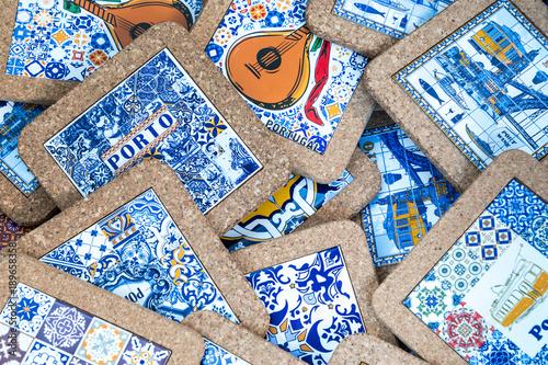 Fototapeta Traditional portuguese souvenirs for sale at Porto market (Mercado do Bolhao)