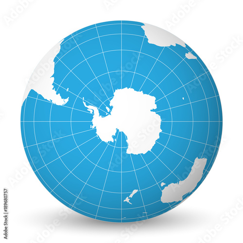 Carta da parati Earth globe with green world map and blue seas and oceans focused on Antarctica with South Pole