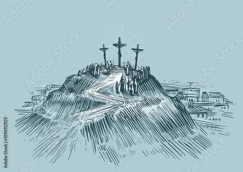 Photo Jesus on cross. Mount Golgotha. Art sketch vector illustration
