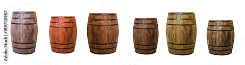 Fotografie, Tablou row brown oak barrel maturation wine extract set of large and small cask