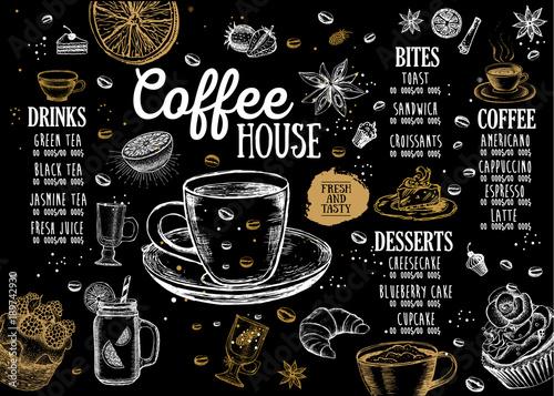Menu kawiarni Menu restauracji kawiarni, szablon. Ulotka żywności.