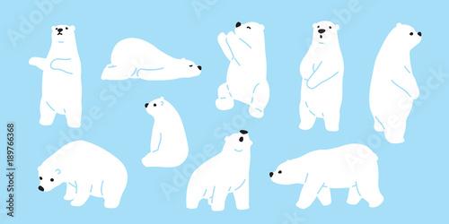 Canvastavla Bear polar bear teddy vector icon character cartoon doodle illustration