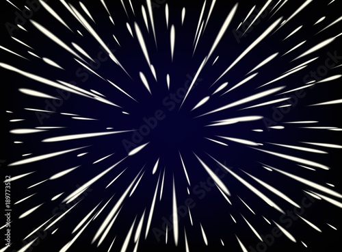 Fotografia Star Warp or Hyperspace with free space in the center, light of moving stars concept