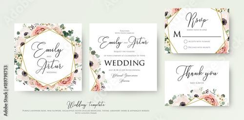 Zaproszenie na ślub kwiatowy eleganckie zaproszenie, dziękuję, karta wektor rsvp Projekt: różowy kwiat ogród, brzoskwinia Róża, biały wosk Zawilec, zielony eukaliptus delikatny zieleń, bukiet jagód, złota rama geometryczna