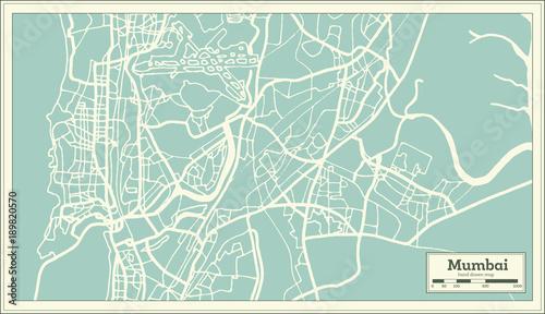Fotografie, Obraz Mumbai India City Map in Retro Style. Outline Map.