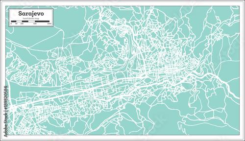 Photo Sarajevo Bosnia and Herzegovina City Map in Retro Style