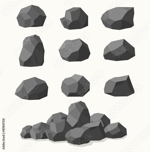 Canvas Print Pile of  stones, graphite coal.