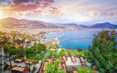 Fotografie, Obraz Aerial view resort city Alanya in southern coast of Turkey