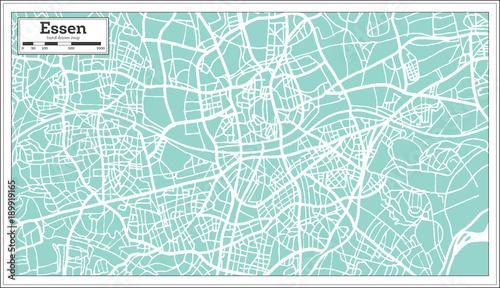Obraz na plátně Essen Germany City Map in Retro Style. Outline Map.