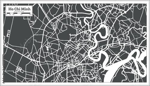 Obraz na płótnie Ho Chi Minh Vietnam City Map in Retro Style. Outline Map.