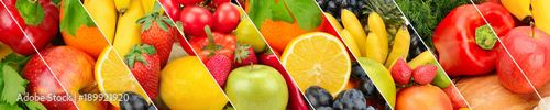 Collection fresh fruits and vegetables background. Collage. Wide photo .