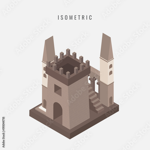 Fotomural isometric icon of the fortress tower of the medieval castle