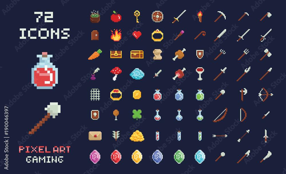 Piksel sztuka wektor projektowania gier ikona interfejs gry wideo zestaw. Broń, jedzenie, przedmioty, mikstura, magia. <span>plik: #190046397 | autor: gdainti</span>