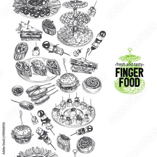 Fotomural Beautiful vector hand drawn finger foods Illustration.