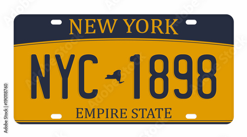 License plate isolated on white background. New York license plate with numbers and letters. Badge for t-shirt graphic