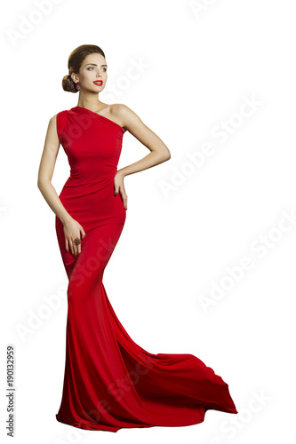 Canvastavla Lady Evening Dress, Elegant Woman in Long Gown with Tail, Fashion Model Isolated