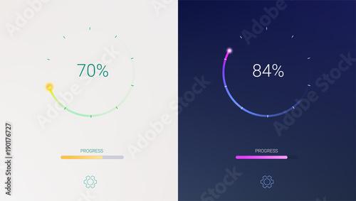 Fotografie, Obraz Progress of loading for mobile apps or web preloader on light and dark background
