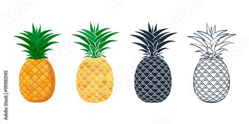 Obraz na płótnie Set of pineapple icons in a flat style.