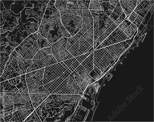 Fotografie, Obraz Black and white vector city map of Barcelona with well organized separated layers