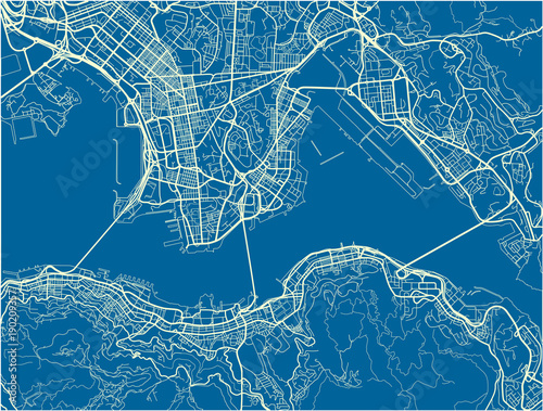 Fotografie, Obraz Blue and White vector city map of Hong Kong with well organized separated layers