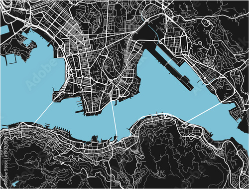 Fototapeta Black and white vector city map of Hong Kong with well organized separated layers