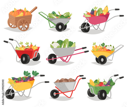 Photographie Vegetables in wheelbarrow vector healthy nutrition of vegetably tomato pepper an