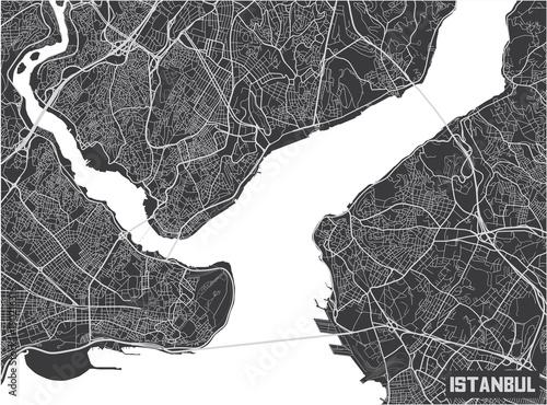 Obraz na plátně Minimalistic Istanbul city map poster design.